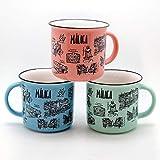 Jumi Surtido 3 Tazas - MUG - Porcelana -Azul/Rosa/Verde - Malaga - Taza Café - (Porcelana)