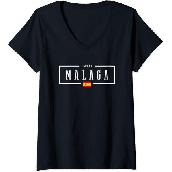 Camiseta cuello de V de mujer de Málaga España