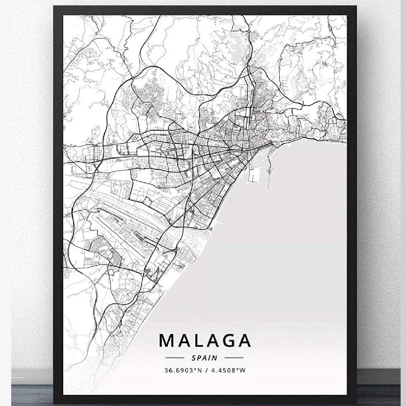 Cuadro Mapa de Málaga España, Cuadro De Pared En Blanco Y Negro